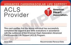 Sample acls certification card