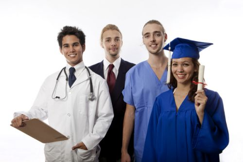 a team of young professionals including businessman, college graduate, and medical professionals